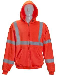 Thermal lined HV full zip sweatshirt with hood
