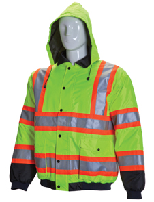 Two tone orange yellow HV safety jacket