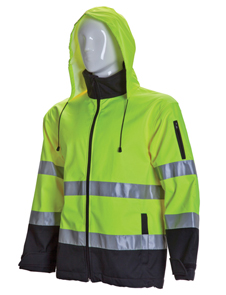 Black bottom HV Soft shell jacket with hood